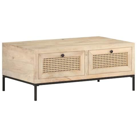 "vidaXL Coffee Table 35.4""x19.7""x14.6"" Solid Mango Wood Natural Cane"