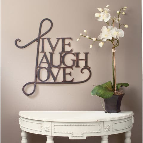 Live, Laugh, Love Wall Decor- Antique Copper / White Finish