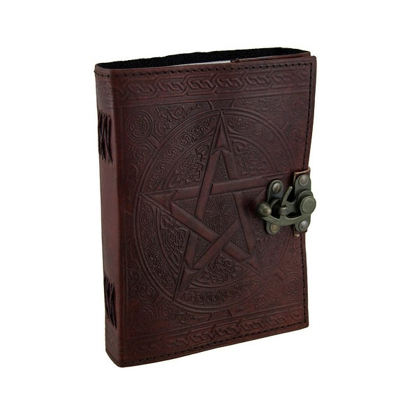 Pentagram Embossed Brown Leather Bound Journal 5x7 in.