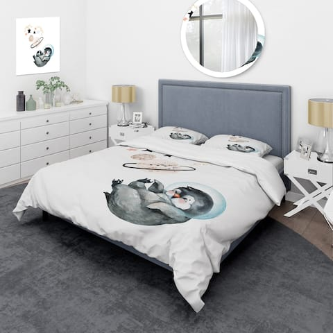 Designart 'Little Penguin With Stars and Planets I' Farmhouse Duvet Cover Set