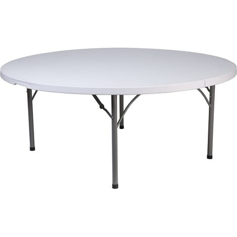 Rivera 71u0026#x27;u0026#x27; Round Plastic Folding Table, ...