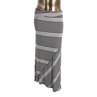 Studio M Womens Striped Fold-Over Maxi Skirt - L