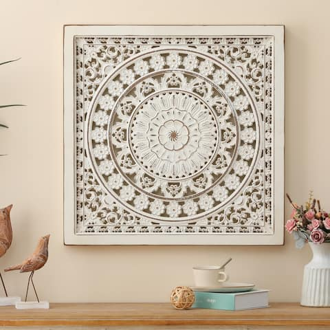White Wood Square Floral-Patterned Wall Decor