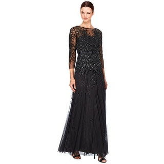 Adrianna Papell Illusion 3/4 Sleeve Embellished Evening Gown Dress