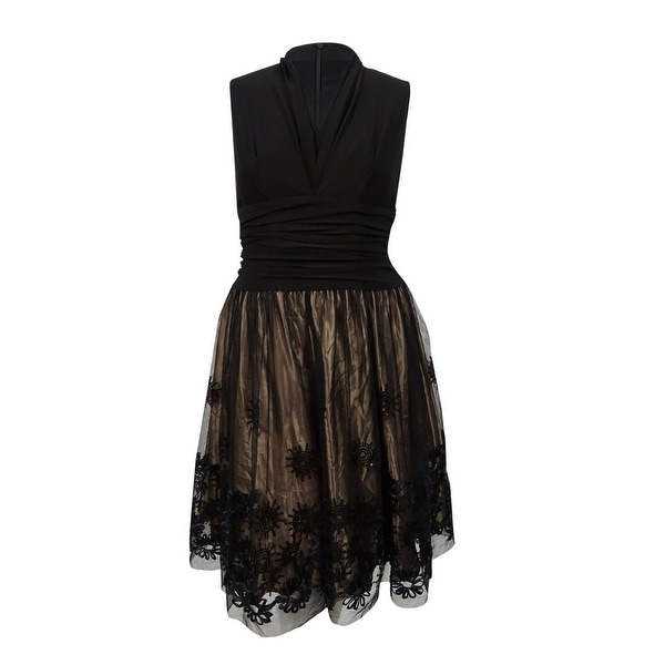 Shop Slny Womens Plus Size Embellished Fit Flare Dress Black