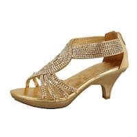 Delicacy Womens Strappy Rhinestone Dress Sandal Low Heel Shoes - Silver