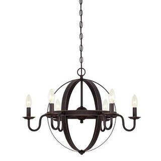 """Westinghouse 6303300 Brixton 6 Light 25"""" Wide Single Tier Candle Style Chandelie - Oil Rubbed Bronze"""