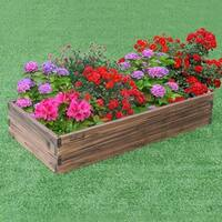 Gymax Wooden Raised Garden Bed Kit - Elevated Planter Box For Growing Herbs Vegetable - as pic