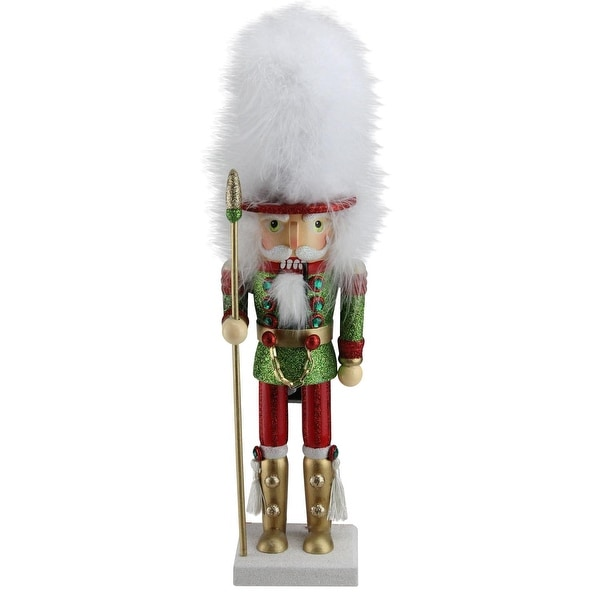 "15.5"" White Faux Fur Hat Decorative Glittered Royal Guard Christmas Nutcracker"
