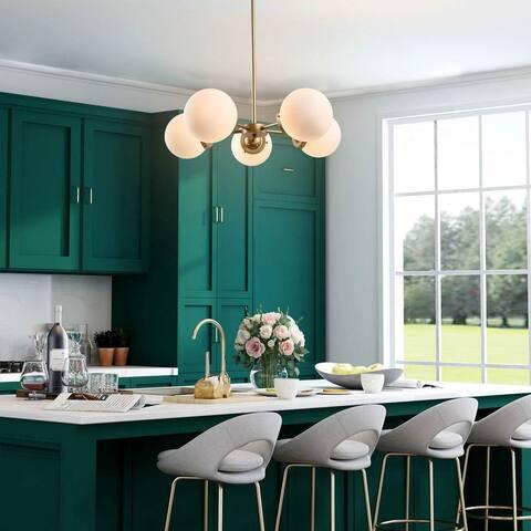 "Modern Glam Gold 5-light Glass Ceiling Chandelier for Dining Room - D24""x H66"""