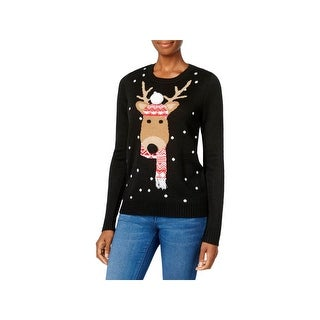 Karen Scott Womens Petites Sweater Reindeer Christmas
