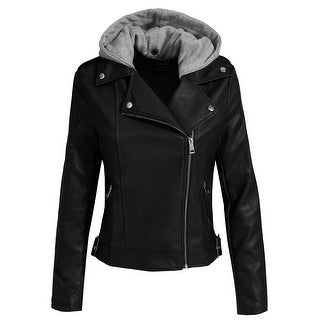 NE PEOPLE Women's Fitted Faux Leather Moto Jacket with Hoodie[NEWJ137]