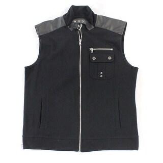 INC NEW Black Mens Size XL Ribbed 3-Pocket Zipper Detail Vest Jacket