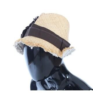 Dolce & Gabbana Beige Floral Leather Raffia Hat