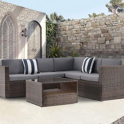Solaura Outdoor Patio 4-piece Wicker Sectional Sofa Set