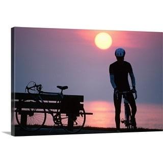 """bike ride at sunrise"" Canvas Wall Art"