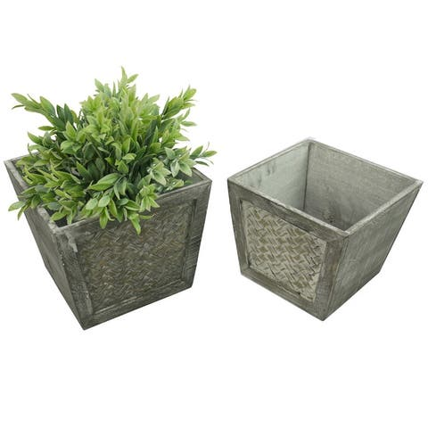 ABN5E145-GY Contemporary Square Wood Planter, Gray, Set of 2