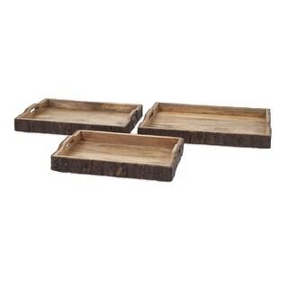 IMAX Home 71822-3  Nakato Wood Trays - Set of 3 - Brown