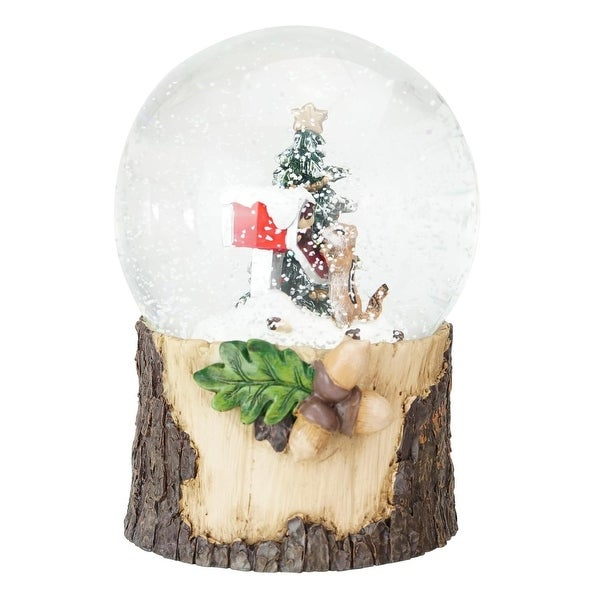 """5.75"""" Brown, Red and Green Chipmunk with Mailbox Musical Christmas Snow Globe - brown"""
