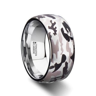 THORSTEN - BATTALION Domed Tungsten Carbide Ring with Laser Engraved Camo Pattern - 10mm