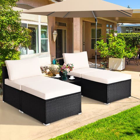 Gymax 5 PC Lounge Patio Rattan Sectional Furniture Set Wicker Sofa
