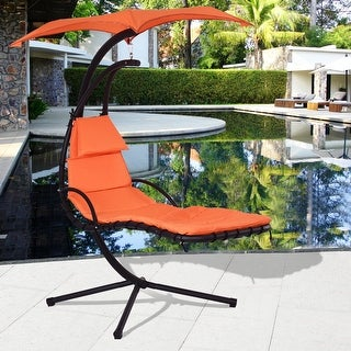Costway Hanging Chaise Lounge Chair Arc Stand Air Porch Swing Hammock Chair  Canopy Orange