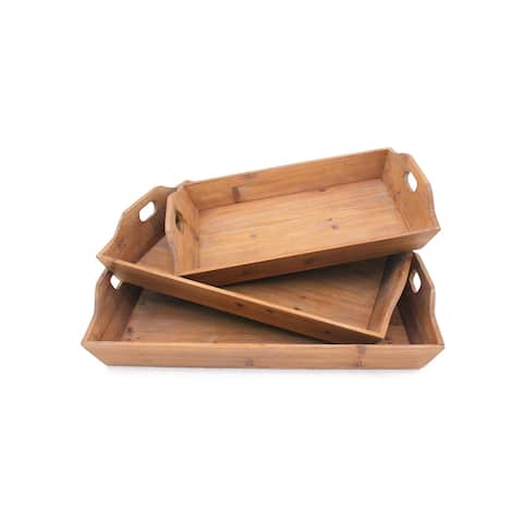 Rectangular Wooden Serving Tray with Cut Out Handles, Set of 3, Brown