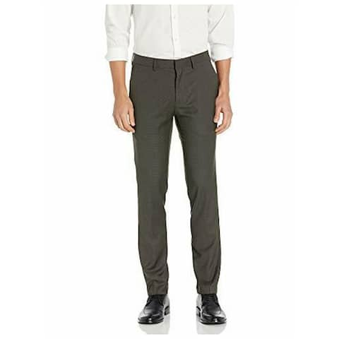KENNETH COLE Mens Brown Check Pants 36 X 30 - 36 X 30