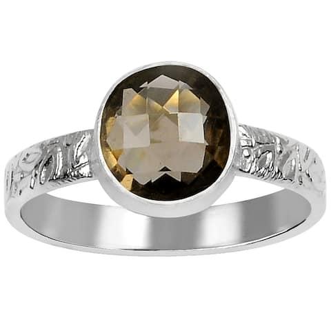 Smoky Quartz Brass Round Fashionable Rings by Fashionablez