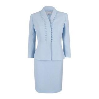 Tahari ASL Women's Faux Pearl Trim Skirt Suit - Crystal Blue