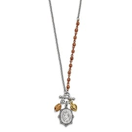 Gold, Silver & Rosetone St. Christopher Faux Toggle Neckl Necklace - 16in