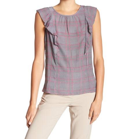 Joe Fresh Gray Womens Size XL Ruffled Plaid-Print Scoop Neck Knit Top 450