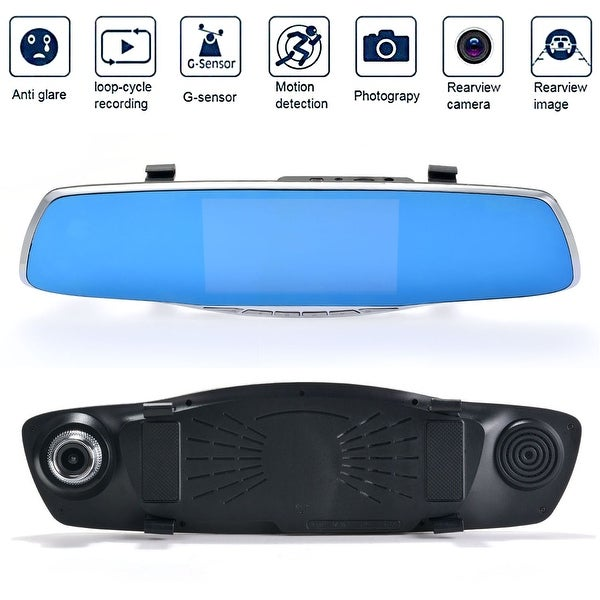 Dual Lens Car Camera, AGPtek Rear View Reverse Mirror Backup Camera, 1080P Full HD Dash Cam Car Recordering System