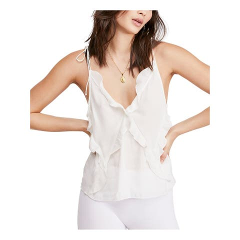 FREE PEOPLE Womens Ivory Spaghetti Strap V Neck Top Size L