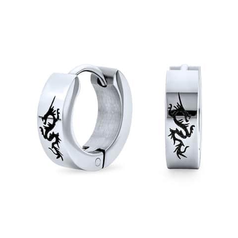 Dragon Hoop Earrings Laser Silver Tone Stainless Steel