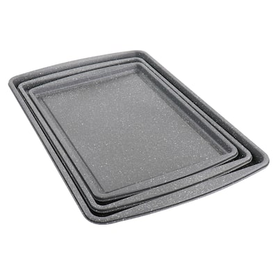 Oster 3 Piece Carbon Steel Cookie Sheet in Greystone - Silver