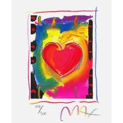 "Heart Series I, Ltd Ed Lithograph (Mini 5"" x 4""), Peter Max"