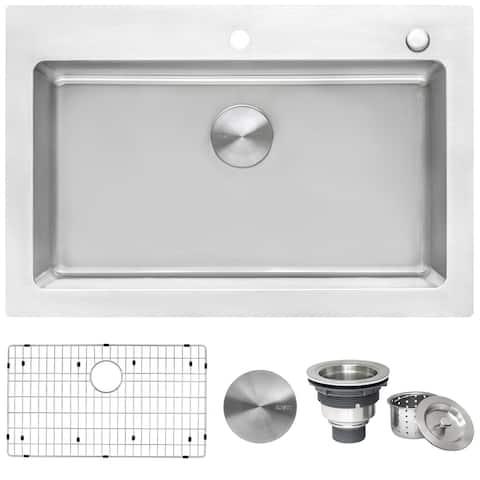 "Ruvati 33 x 22 inch Drop-in Topmount Kitchen Sink 16 Gauge Stainless Steel Single Bowl - RVM5001 - 33"" x 22"""