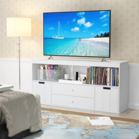 "Elephance Modern TV Stand Cabinet for UP to 50"" TV, Kids Toy Storage Cabinet for Living Room"