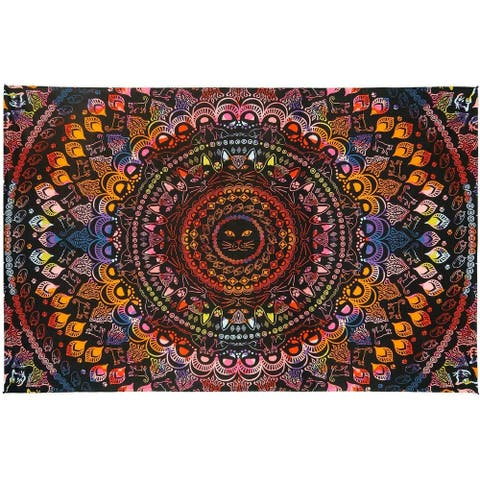 3D Rainbow Cat Mini Tapestry Wall Hanging Tie Dye Kitty Fabric Cotton Poster
