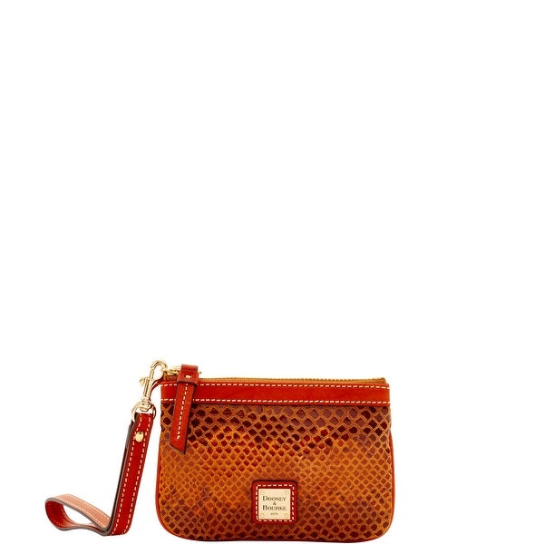 Dooney & Bourke Snake Medium Wristlet (Introduced by Dooney & Bourke at $68 in Nov 2016) - Saddle