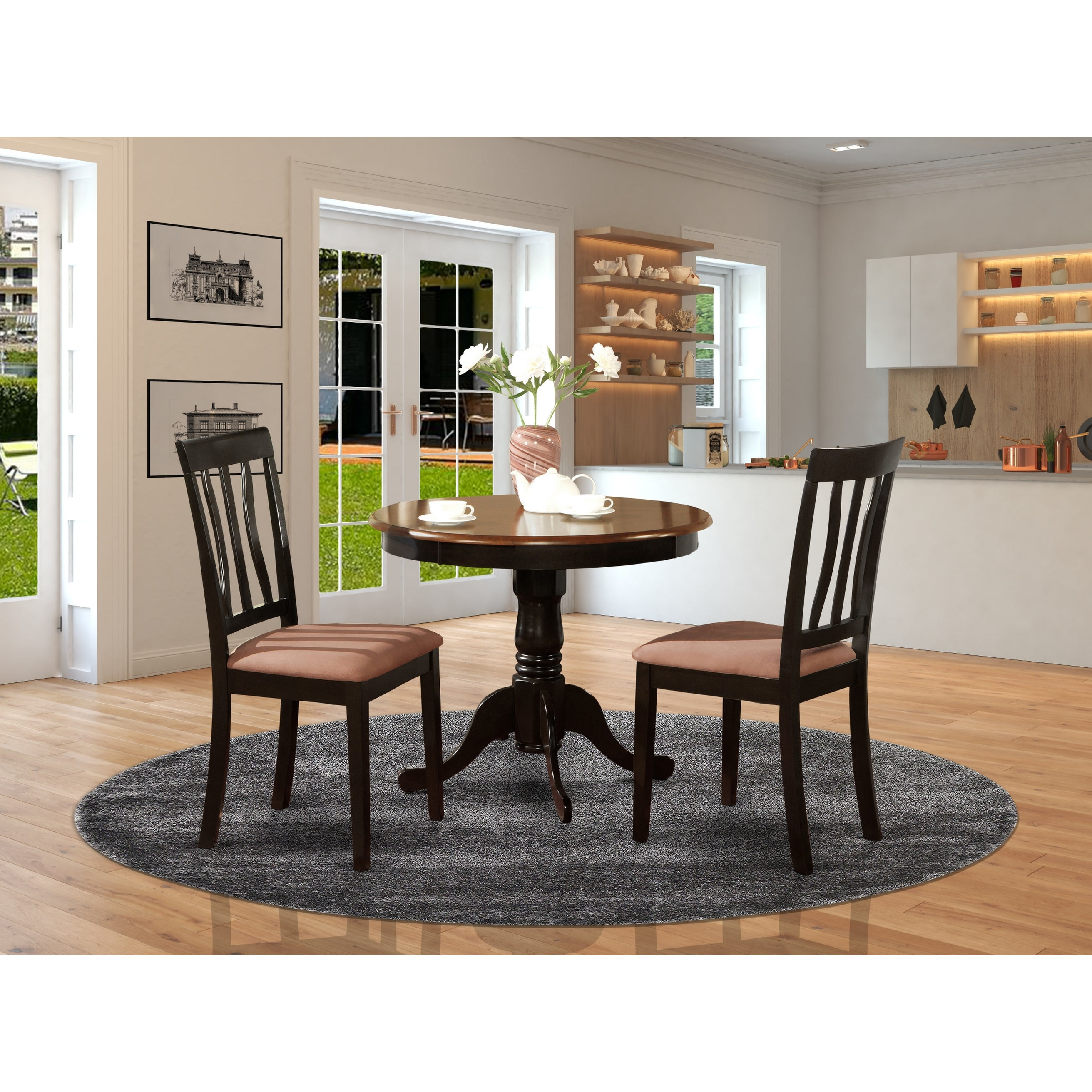 Black Round 3 Piece Dining Set Overstock 10201084