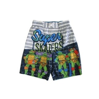 "Nickelodeon Little Boys Grey TMNT ""Super Skaters"" UPF 50+ Swim Shorts"