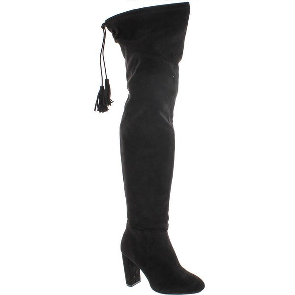 Qupid York-12 Women's Pull On Stretchy Over The Knee Block Heel Boots - Black