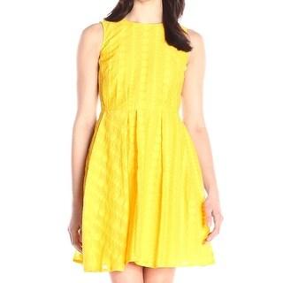 Calvin Klein NEW Yellow Womens Size 10 Dot-Textured A-Line Dress