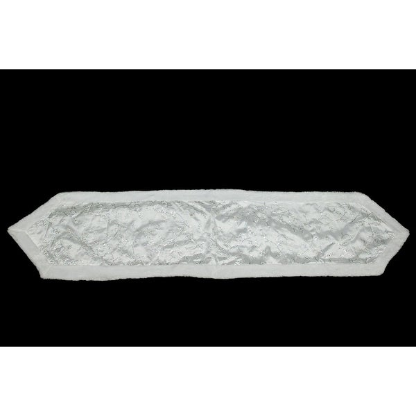 """16"""" x 72"""" White Iridescent Swirl Sequined Christmas Table Runner with White Faux Fur Trim"""