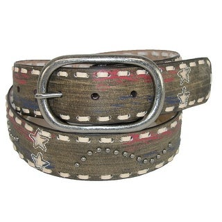 Roper Women's Distressed Leather Americana Belt with Stars and Studs - Tan
