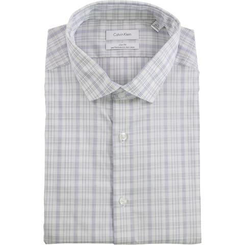 """Calvin Klein Mens Performance Button Up Dress Shirt, blue, 17.5"""" Neck 36""""-37"""" Sleeve - 17.5"""" Neck 36""""-37"""" Sleeve"""