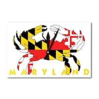 MD - Crab Flag (White w/ Yellow Text) - LP Artwork (Acrylic Wall Clock) - acrylic wall clock