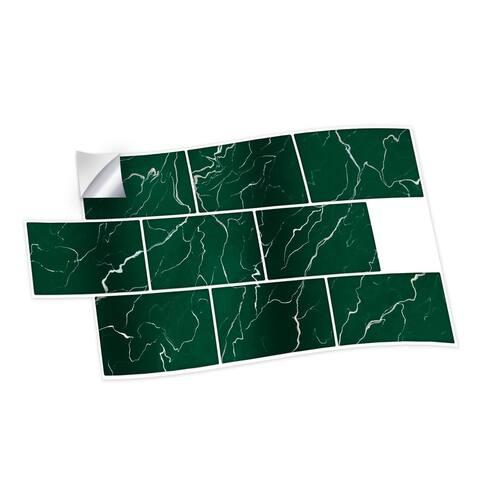 Walplus Green Marble Metro Flat Peel and Stick Backsplash Tile Stickers